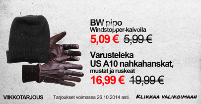 Viikon tarjous: BW pipo ja Varusteleka US A10 nahkahanskat -15 %