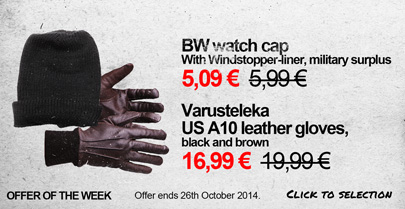 Special Offer: BW watch cap ja Varusteleka US A10 leather gloves -15 %